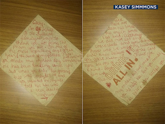 A grateful family member of Mrs. Sullivan left Kasey Simmons a note, thanking him for his selfless act of kindness toward their grieving mother on the anniversay of her husband's death.