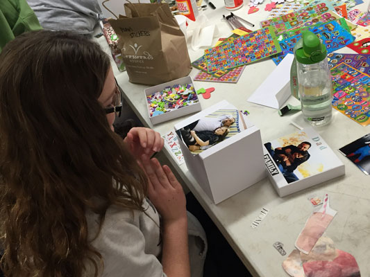 Crossroads Kids campers decorated memory boxes in honor of their deceased loved ones.