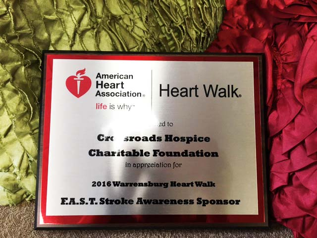 Crossroads Hospice Charitable Foundation is proud to be a F.A.S.T. Stroke Awareness sponsor of the 2016 Johnson County Heart Walk
