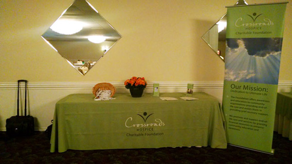 Our table at the Strongsville Grief Support and End-of-Life Therapy Education Seminar was the hub for free end-of-life education resources