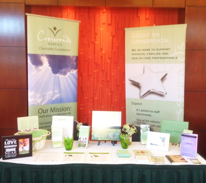 Our table at the Current Management of Critical Care Symposium offered end-of-life care education and free resources to the 140+ healthcare professionals in attendance.