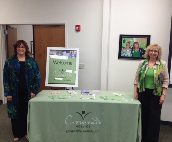 The Crossroads Hospice Charitable Foundation team's table was a key source of caregiving resources and end-of-life care information