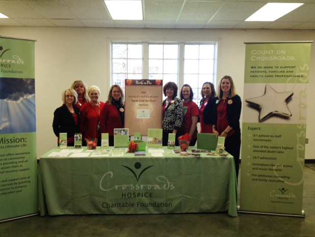 Crossroads Hospice Charitable Foundation had an educational table set up to offer Go Red for Women Luncheon attendees information about end-of-life care and grief recovery education.
