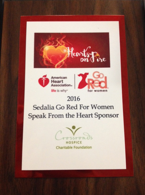 Crossroads Hospice Charitable Foundation was honored to be a 'Speak from the Heart' sponsor at the 2016 Go Red for Women Luncheon in Sedalia, Missouri.