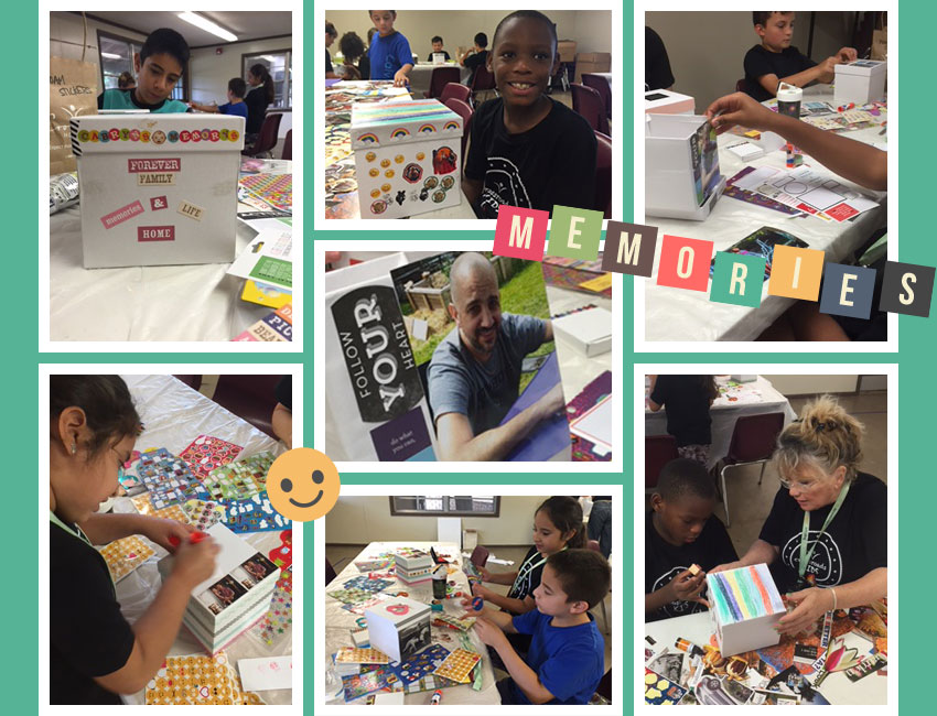 Crossroads Kids Grief Camp campers make memory boxes in honor of their deceased loved ones.